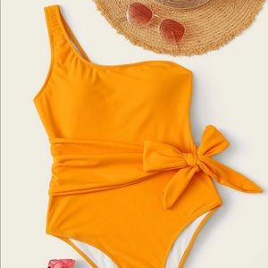 Brand New Yellow One Shoulder Bathing Suit